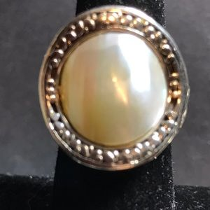 Mother of pearl and sterling ring.